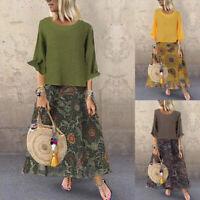 Vintage Femme Deux Pièce Manche Longue Poches Impression Robe Plus Oversize