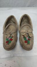 vintage leather beaded moccasin kids Pocahontas soft Indian clothing display