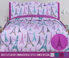 Twin Full Queen Paris Comforter and Sheet Purple Eiffel Tower Bed in a Bag Set