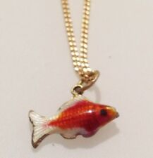 PENDENTIF ANNEE 70 COLLIER POISSON EMAIL CLOISONNE ROUGE  517