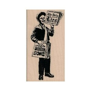Banksy The Daily Lies RUBBER STAMP, Media Stamp, Paperboy Stamp, Satire Stamp
