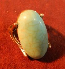 Vintage, Oval Light Blue Color Turquoise, Ring Size 8