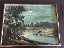 Mid 19th Century American Primitive Landscape Painting FW Devoe Academy Board