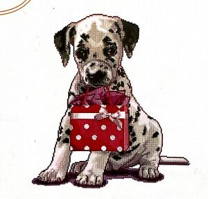 """Thea Gouverneur """"Puppy Went Shopping"""" Cute Counted Cross Stitch Kit"""