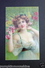 # I 717- Vintage Unused Greeting Post Card Pretty Victorian Lady & Shabby Roses