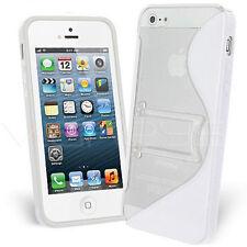 Funda PROTECTOR PANTATALLA iPhone 5 SOPORTE BLANCA blanco GEL Silicona Carcasa
