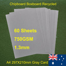 60 X A4 Chipboard Boxboard Cardboard Recycled Gray Card 750gsm 1.3mm