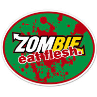 "Zombie Eat Flesh car bumper sticker decal 5"" x 4"""