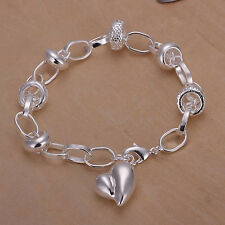 lady 925 Silver Plated Heart Charm Chain Bracelet fashion Jewelry Valentine Gift