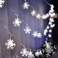 Cool White Snowflake LED String Fairy Light Battery Operated Christmas Decor UK