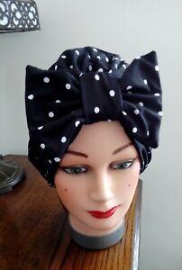 TURBAN black white polka dot spot 1940s SWING LAND GIRL HAT HEAD hair scarf bow