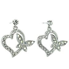 Love New Stud Earrings Jewelry Gift Butterfly Heart Made With Swarovski Crystal