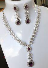 "SE Sim Diamond & Amethyst White Gold GF 16""Bib Necklace & Dangle Earrings PlumUK"