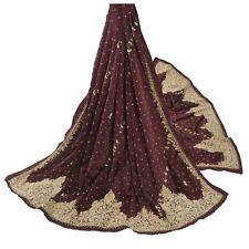 Sanskriti Vintage Purple Heavy Dupatta Pure Satin Silk Hand Beaded Zardozi Stole