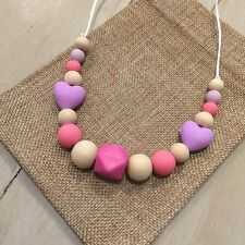 Wood & Silicone Little Girl's/Toddler Necklace,Safe Chemical Free,Pink & Green