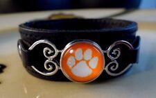 CLEMSON TIGERS SNAP BUTTON genuine black leather bracelet Gifts women