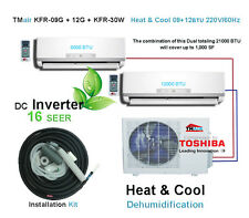 Ductless Double Split AC with Energy Star 9000+12000 BTU 220v/60hz 16 SEER