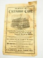 "Hall's Catarrh Cure F.J.Cheney & Co,6 page Pamphlet 1880""s"