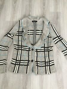 MARCCAIN designer grey checked frilled cardigan size N 5