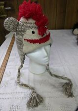 Punk Rock SOCK MONKEY HAT knit ADULT costume FLC LINING red mohawk helmet head