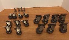 Lot 16 Vtg Furniture Casters Wheels Rollers Swivel Plastic Hardware
