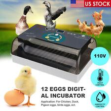 12 Eggs Incubator Chicken Hatcher Automatic Digital Turning Temperature Control