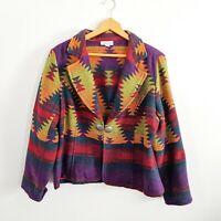 Coldwater Creek Aztec Southwest Blanket Jacket Coat Size Petite Large Vibrant