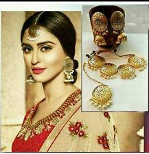 22 k Gold Tone Statement Necklace Set Indian Ethnic Jewelry Jhumka Jhumki