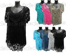 NEW Summer ITALIAN Vest Lace CROCHET Top Tunic TWIN SET Lagenlook- Size. 14 - 22