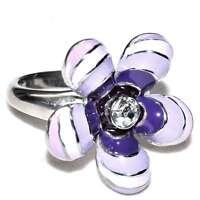 Bague originale en acier fleur émail violet T 56 et 60 bijou ring