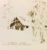 Postcard, Grouse Mountain Chalet Winter Scene Snow B.C. Canada Vintage P09
