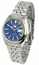 Seiko Automatic SNK371 SNK371K1 Men Day Date Blue Dial Stainless Steel Watch