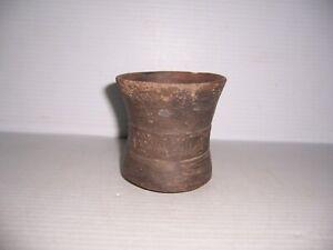 "Pre-Columbian Moche Beaker Pottery Artifact 3 1/2"" x 3 1/2"""
