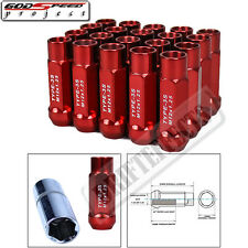 GODSPEED TYPE 3-X WHEEL RIM RACING STEEL LONG LUG NUTS 50MM 20 PC M12 X 1.25 RED