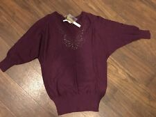 NWT **Lauren Conrad** Womens Dolman Sweater PLUM Work Career Xs Extra Small $50