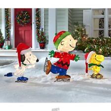 Illuminated Peanuts Christmas Ice Skating Trio Led Lights Snoopy Charlie Brown