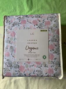 Size California King Lauren Conrad Organic Cotton 4PC Sheet Set Floral 300 Count