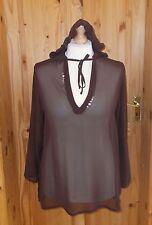 PER UNA chocolate brown chiffon long sleeve hooded summer holiday tunic top M 14
