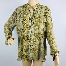 Coldwater Creek Blouse Top Shirt Large Green Floral Print Long Sleeve Chiffon