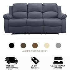 8c9c48a60a LEATHER RECLINER 1 2 3 SEATER SOFA, BROWN, GREY, BLACK, CREAM,