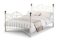 Julian Bowen Isabel Stone White Brass Bed Bedstead 135cm Double 4FT6