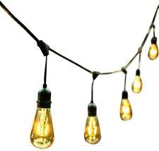 OVE Decors LED String Light 48 ft. 24 Light Bulbs Weather Resistant Black Gold