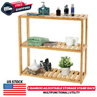 3-Tier Folding Shelf Stand Flower Pot Display Multifunction Rack Bookcase Bamboo
