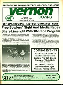 1983 Harness Horse Racing Program Vernon Downs Free Bowlers Night & Media Races!