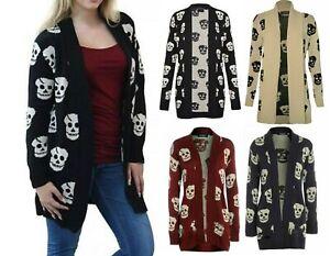 Women Ladies Halloween Skeleton Skull  Print Open Front Knitted Cardigan