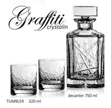 Crystal Glasses Whiskey Set Decanter 26 oz and 6 Tumblers10 oz Bohemian European