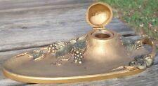 -Art Nouveau Bronze Inkwell Encrier Raisin & Feuilles de Vigne