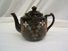 """Beautiful Dark Brown Teapot With Floral Design &Gold Accents 6"""" Height VGC"""