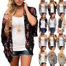 Summer Women Floral Chiffon Loose Shawl Kimono Cardigan Blouse Beach Tunic Tops