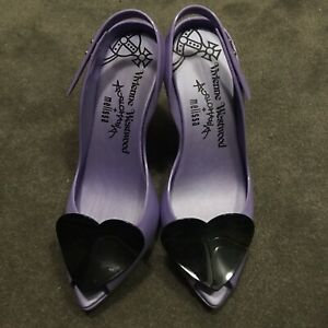 Vivienne Westwood Anglomania Purple And Black Heart Heels . Rare. Size 9
